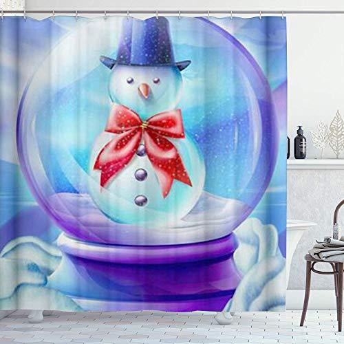 DYCBNESS Cortina de Ducha,Azul Púrpura Navidad Muñeco De Nieve Bola De Cristal,Material Resistente al Agua...