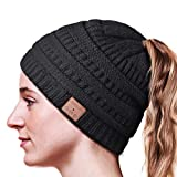 hanpure bluetooth beanie,ponytail bluetooth hat for woman,beanie with headphones upgrade bluetooth