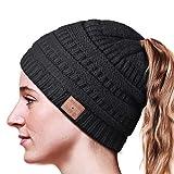 HANPURE Bonnet Bluetooth avec queue de cheval pour femme, bonnet avec casque de mise à niveau Bluetooth 5.0, mains libres, chapeau de musique, design spécil pour fille et femme, matériau confortable et chaud Noir