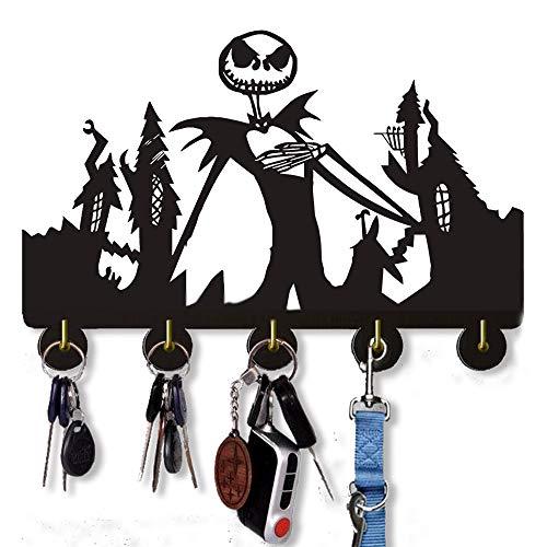 Ganchos de pared The Nightmare Before Christmas de 20 libras (máx.), ganchos para colgar llaves | Decoración de puerta de Halloween con cinco ganchos de metal para llavero, abrigos y bolsas.