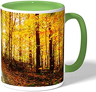 autumn leaves Coffee Mug by Decalac, Green - 19039