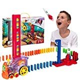 Domino Train – Automatic Domino Brick Laying Toy Train for Toddlers Aged 3-7 –Tracking Set with 120 Domino Pieces, Train, Rocket and Launching Pad – Easy to Use and Fun – Educational Game for Kids
