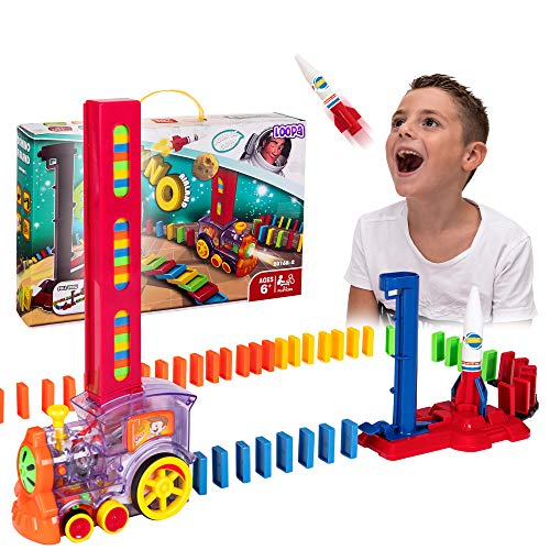 Domino Train – Automatic Domino Brick Laying Toy Train for Toddlers Aged 37 –Tracking Set with 120 Domino Pieces Train Rocket and Launching Pad – Easy to Use and Fun – Educational Game for Kids