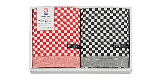 【今治タオル】 赤×黒 大人のチェックギフト フェイス×2タオルセット 2-60335-99-MIX