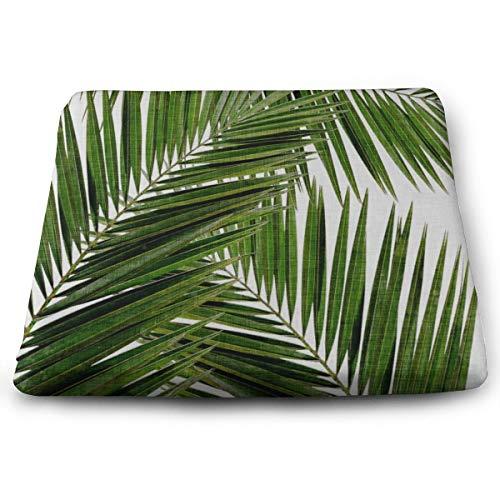Cojín cuadrado sólido con estampado de hojas de palma, cojín para asiento de silla, tatami para yoga, meditación, sala de estar, balcón, oficina, exteriores, 15 x 13,7 pulgadas