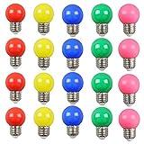 20PCS 2W E27 ampoule couleur, ampoule LED couleur unique, 200LM Lampe de Noël 220V partie petite bulle de couleur, 180 ° ampoule LED (4 par couleur)