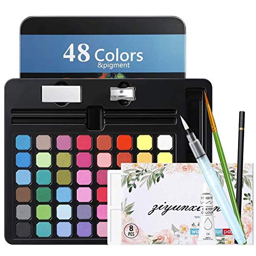 MojiDecor Set de Pintura de Acuarela , Caja de Acuarela con 48 Colores + 1 Pluma de Acuarela + 1 Lápiz de Dibujo + 1 Paleta + 2 Esponja de Limpieza + 8 Papel para Artistas Profesionales