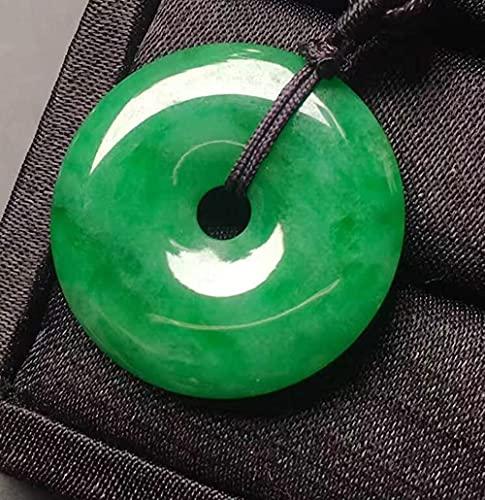 ZYLZL Collar de cuerda con colgante de jade verde afortunado de armonía tallada a mano natural, joyería de moda