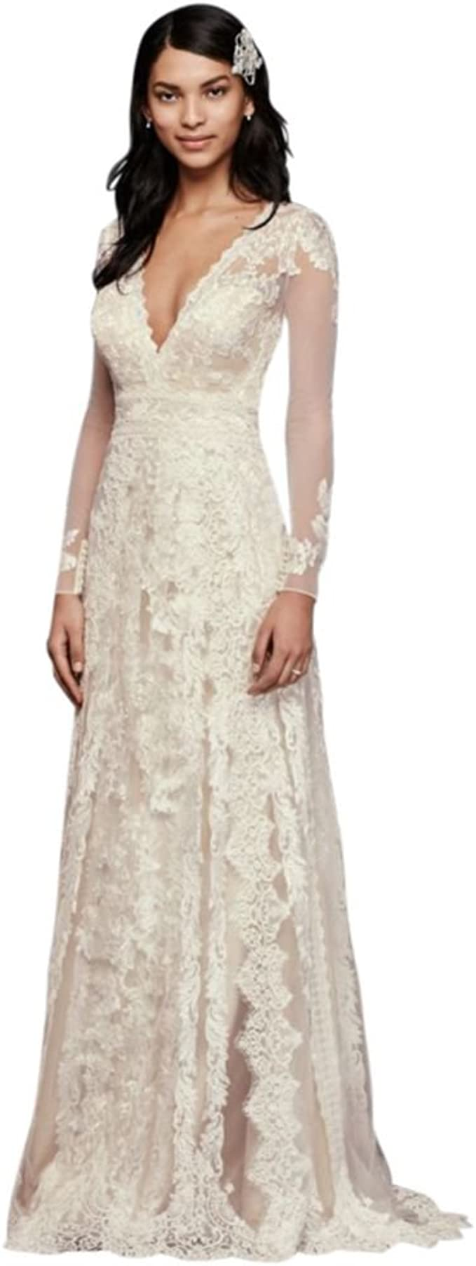 David's Bridal Tulle Melissa Sweet Linear Lace Wedding Dress Style ...