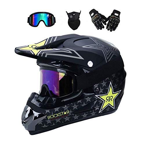 YUCARAC Motocross Helm, Unisex Motorradhelm Cross Helme Schutzhelm ATV Helm, Adult Off Road Helm mit Handschuhe Maske Brille für Herren und Damen Sicherheit Schutz,B,M