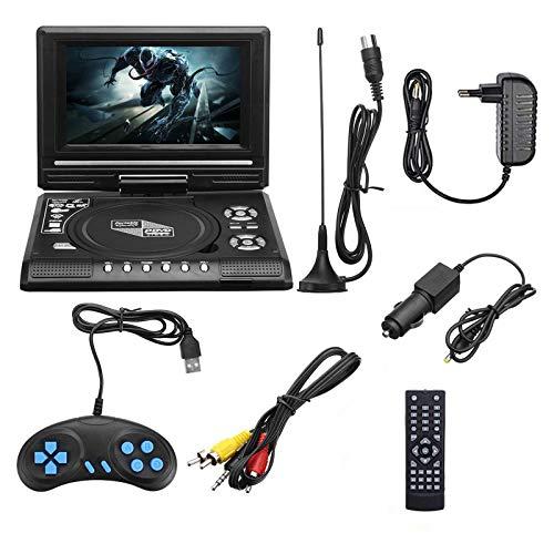 Lhlbgdz Reproductor de DVD portátil, TV HD de 7.8 Pulgadas Reproductor de DVD para automóvil en casa VCD CD Reproductor de DVD MP3 Tarjetas SD USB RCA TV Pantalla LCD giratoria