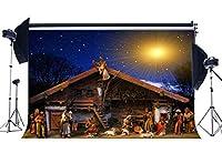 GooEoo 8x6ftキリスト降誕の背景キリスト降誕の物語の背景田舎の古い納屋の羊飼いのクリスマス明けましておめでとうございます写真の背景家族のパーティーの誕生日の背景ベビーシャワーのビニール素材