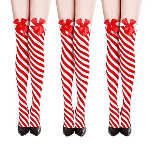 SATINIOR 3 Pares de Medias a Rayas Navideñas Calcetines hasta Rodilla para Niñas de Muslo Disfraz (Style Set 3)
