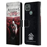 Head Case Designs オフィシャル ライセンス商品 Assassin's Creed Ezio レッドクラウド ブラザーフッド・キーアート Motorola Moto G9 Power 専用レザーブックウォレット カバーケース