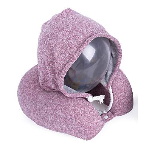 Helio Ferretti. Almohada Cervical con Capucha para viajes. Cómoda y suave. Color rosa.