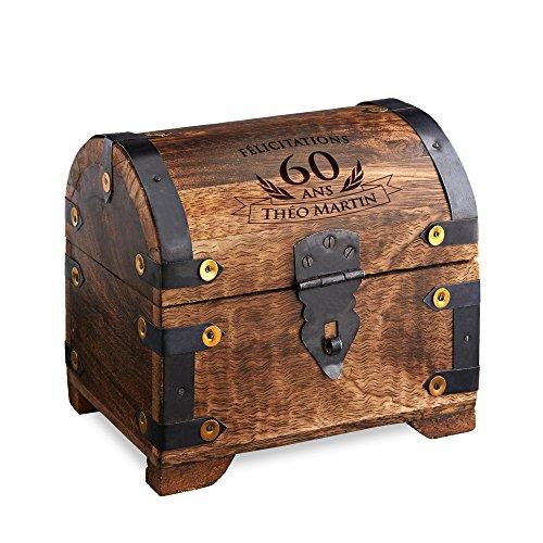 Casa Vivente - Coffret en boisavec Gravure - Cadeau d'anniversaire 60 Ans - Personnalisé avec Un [NOM] au Choix - Boîte à Bijoux - Boîte Cadeau - Tirelire - Bois foncé - Cadeau d'argent