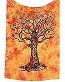 MY DREAM CARTS - Tapiz para Colgar en la Pared (algodón, 101 x 76 cm), diseño de árbol de la Vida, Color Naranja