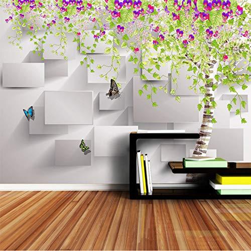 Preisvergleich Produktbild Xbwy Moderne Ziegelsteintapete 3D Stereoskopisch Für Wände Tapeten 3 D Kinder Wohnzimmer Blume Blossom Schmetterling Wandpapier-400X280Cm