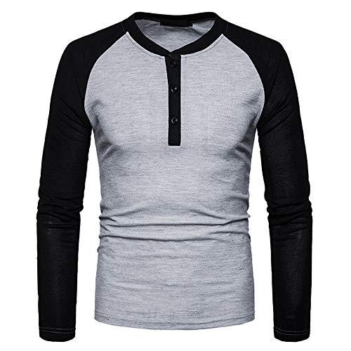 Herren Pullover T-Shirt Rundhals Langarm Slim-Fit Bequemer Patchwork 1/4 Button Streetwear Frühling und Herbst Neu Sport Mode Casual Daily Wear Sweatshirt Winter Bottoming Shirt XL