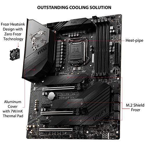 MSI MEG Z490 UNIFY Scheda Madre Gaming (ATX, 10 Gen Intel Core, LGA 1200 Socket, DDR4, SLI/CF, Triple M.2 Slots, USB 3.2 Gen 2, Wi-Fi 6)
