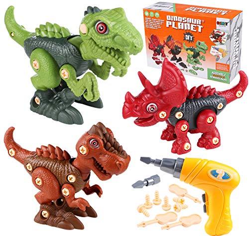 Toyssa Dinosaurios Juguetes, Desmontar y Ensamblar Dinosaurio Juguetes con Taladro Eléctrico, Juegos de Construccion Puzzle Dinosaurios Juguete Educativo Stem Regalo para Niños Niñas 3 4 5 6 7 Años