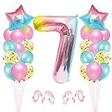 7er Cumpleaños Globos, Decoración de Cumpleaños 7 en Rosado, Cumpleaños 7 Año, Feliz Cumpleaños Decoración Globos 7 Años, Globos de Confeti y Aluminio para Niñas