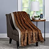 """Lavish Home (Brown Throw Luxurious, Soft, Hypoallergenic Premium Chinchilla Fur Blanket with Faux Mink Back and Gift Box, 60""""x70"""