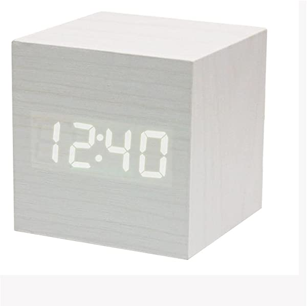 Powstro Clock Modern Wooden Cube Design Digital LED Desk Alarm Clock Voice Control Thermometer Timer Calendar