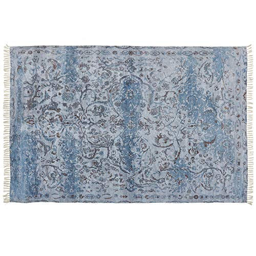 Loberon Teppich Doua, Viskose, Baumwolle, H/B 170/240 cm, beige/blau
