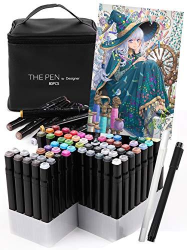 THE PEN for Designer マーカーペン 80色 セット ペンケース スタンド ホワイト ライナーペン 付き イラストマーカー アルコールマーカー コミック用マーカー