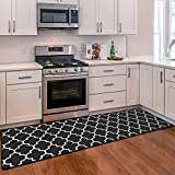 WiseLife Kitchen Mat Cushioned Anti-Fatigue Kitchen Rug, 17.3'x 59' Waterproof Non-Slip Kitchen Mats and Rugs Heavy Duty PVC Ergonomic Comfort Mat for Kitchen, Floor Home, Office, Sink, Laundry, Black