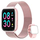 NAIXUES Smartwatch Orologio Fitness Sportivo Donna Uomo Impermeabile Smart Watch Cardiofrequenzimetro Contapassi da Polso Monitor Pressione Sanguigna Activity Tracker Compatibile con Android iOS(Rosa)