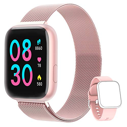 NAIXUES Smartwatch Orologio Fitness Sportivo Donna Uomo Impermeabile Smart Watch Cardiofrequenzimetro Contapassi da Polso Monitor Pressione Sanguigna Activity Tracker Compatibile con Android iOS Rosa