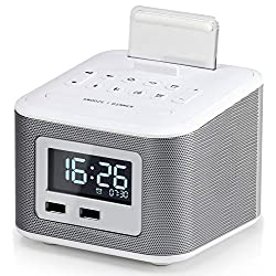 Alarm Clock Radio,Wireless Bluetooth Speaker,Digital Alarm Clock USB Charger for Bedroom with FM Radio/2 USB Charging Port/AUX-in and Cell Phone Stand/Snooze/Dimmer/Battery Backup Function(White)