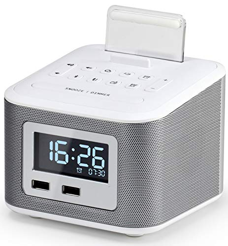 Alarm Clock Radio,Wireless Bluetooth Speaker,Digital Alarm Clock USB Charger for Bedroom with FM Radio/USB Charging Port/AUX-IN and Cell Phone Stand/Snooze/Dimmer/Battery Backup Function(White)