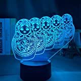Luz nocturna LED con efecto de luz 3D, luz nocturna con sensor táctil de cambio multicolor de luz 3D para lámparas de decoración del hogar y lámparas de decoración de habitaciones de niños