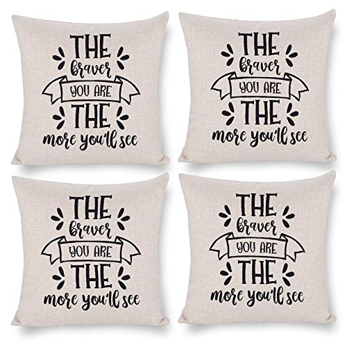 No branded Pack 4,Pillow Covers 18x18 Set of 4,Throw Pillow Cases Home Decor 4pcs The Best Teachers Teach from Farmhouse Square Cushion Pillowcase for Sofa Bedroom Car Patio Chair Nursery