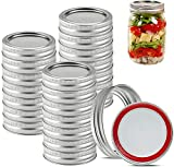 24 Count Canning Lids Regular Mouth - Mason Jar Lids Regular Mouth with Silicone Seals Rings for Ball or Kerr Jars, Rust-proof Split-type Leak Proof, Silver (Lids&Rings)