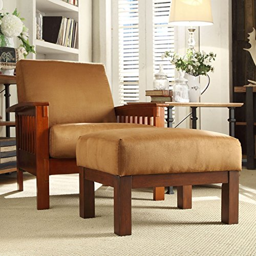 Metro Shop TRIBECCA HOME Hills Mission-style Oak/ Rust Chair and Ottoman