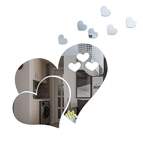 ITTA 3 Set 15pcs 3D Acrylic LOVE Heart-shaped Mirror Wall Stickers Removable Heart Art Decor Wall Poster Living Room Wedding Room Home Decoration (Silver)