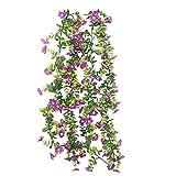 XHXSTORE 2PCS Hiedra Artificial Exterior Interior Ivy Cerezo Artificial Planta trepadora de Seda púrpura para Enrejado Espejo Araña Boda Columpio Patio Jardín Hogar-150CM
