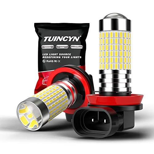 TUINCYN H11 H8 H9 Bombilla de luz antiniebla LED Xenon Blanco 6000K 3014 Chipsets 144SMD Lámpara de conducción diurna diurna Super Bright DRL DC 12V-24V (paquete de 2)
