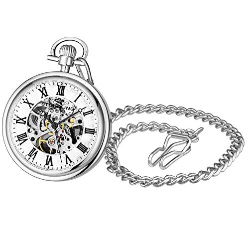 Stuhrling Original Mens Vintage Mechanical Pocket Watch - Stainless Steel Pocket Watch with Chain Analog Skeleton Watch Hand Wind Mechanical Watch with Clip and Stainless Steel Chain (Silver)