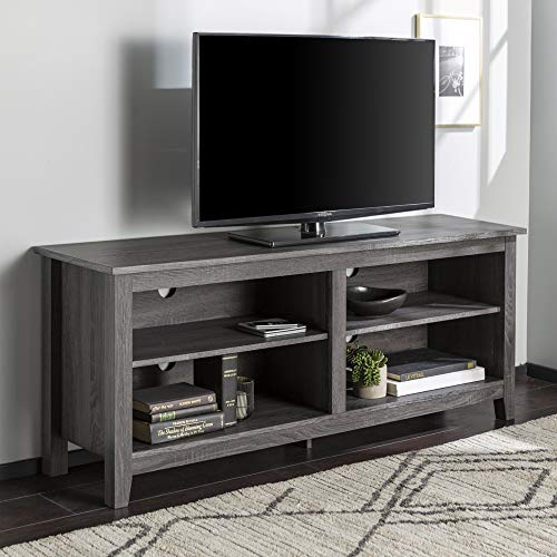 Walker Edison Wren Classic 4 Cubby TV Stand for TVs up to 65 Inches, 58 Inch, Charcoal Grey