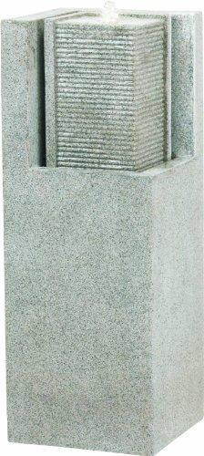Esteras 8512317387 Brunnen für den Garten, 32 x 32 x 87 cm, Fiberglas, Granitgrau, Apuro