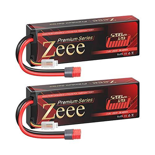 Zeee Batería de polímero de litio Serie 2S de 5200 mAh, 7,4 V, 120 C, con conector Deans en T para coches RC y aviones teledirigidos, helicópteros y hobby (2 unidades)
