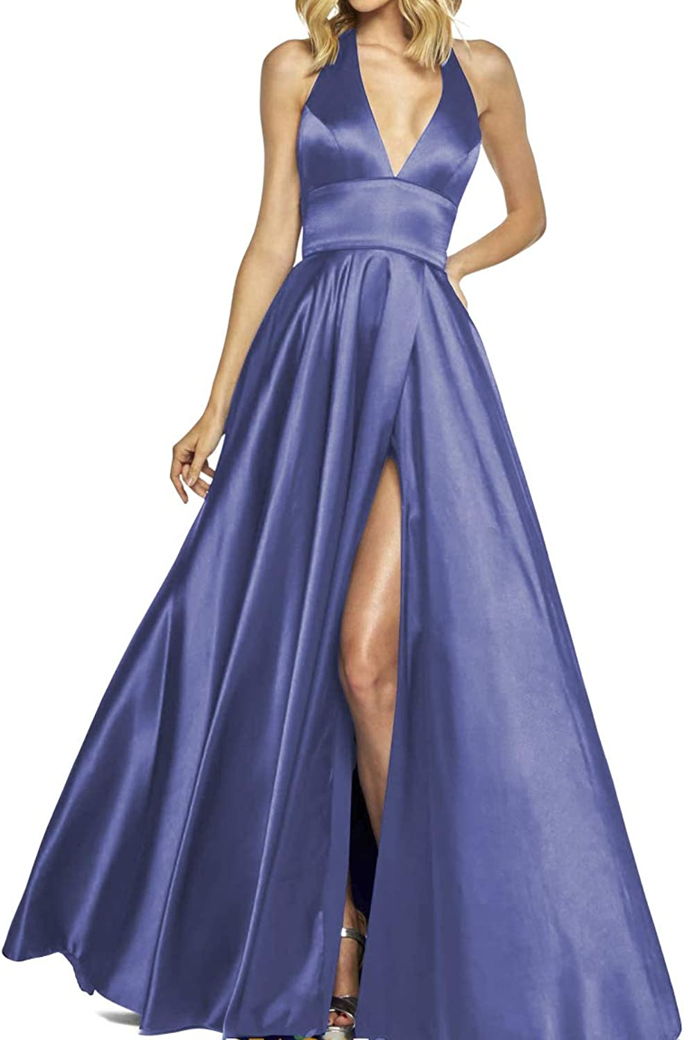 Clothfun Womens Split Prom Dresses with Pocket Halter Long Satin Open Back Formal Evening Party Gown PM16