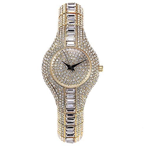 Aman Gioielleria Orologio di Lusso Donna   Orologio Strass Oro acciaio inossidabile   Orologio 30mm Gold Shiny Sottile   Braccialetto orologio Regalo San Valentino Festa della mamma (Oro)