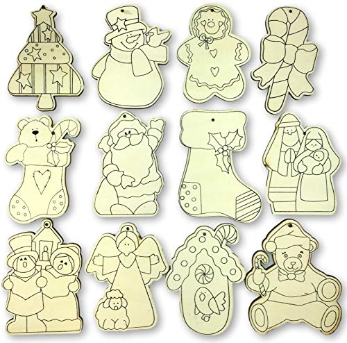 Knextion Inc. 12 Color Your Own Wooden Christmas Ornaments - Arts and Crafts Kit Party Classroom Activity - Featuring Santa, Snowman, Christmas Tree, Stocking, Nativity and More - 12 Pieces