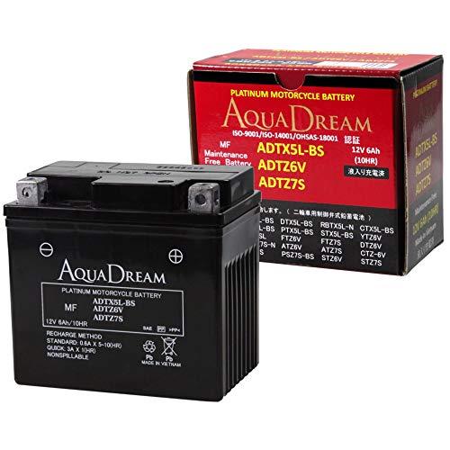 AUQA DREAM YTX5L-BS/YTZ6V/YTZ7S/WYZ6VIS互換/スーパーモデル (大容量/6Ah) MF 液入充電済 バイク用バッテリー (アイドリングストップ対応) ADTX5L-BS/ADTZ6V/ADTZ7S
